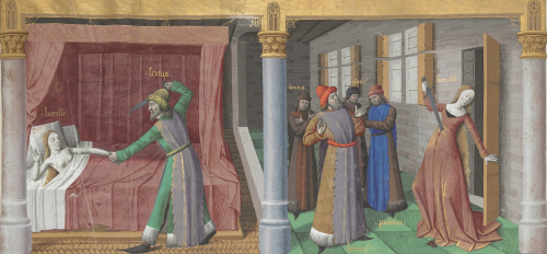 Two panels showing scenes from the life of Lucretia. On the left, Lucretia lies in bed while her arm is being held by an Etruscan prince who raises a sword at her. On the right, Lucretia commits suicide with a sword in front of her husband and father