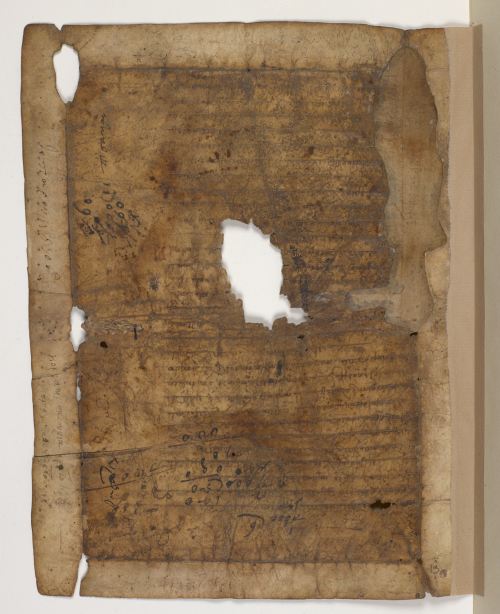 A fragment from a 13th-century Greek liturgical manuscript, showing evidence of folding and handwritten notes.