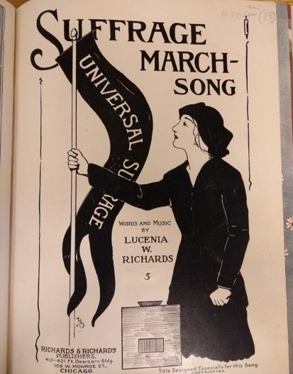 A woman holds a banner saying 'Universal Suffrage' on the cover of this sheet music.