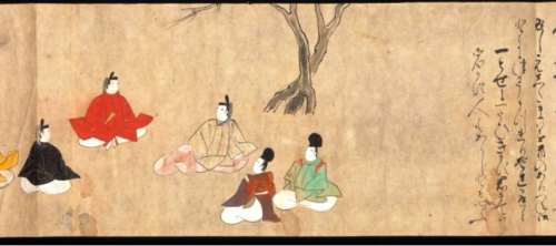 Drawing of five men in traditional Japanese dress seated in semi-circle under a tree