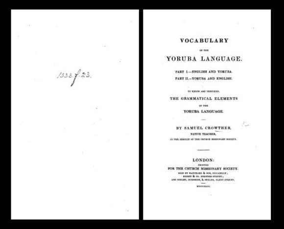 Vocabulary of Yoruba Language by Samuel Ajayi Crowther