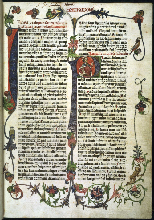 Opening page of the Gutenberg Bible, with hand decorated initials and margins