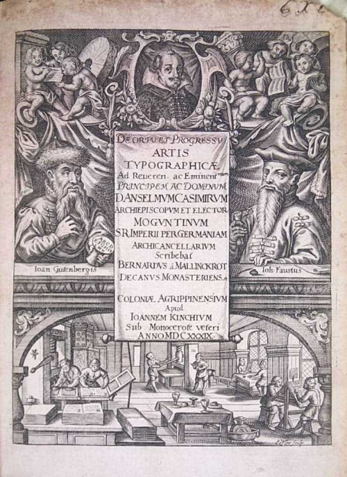 Title page of 'De ortu ac progressu artis typographicæ' with portraits of Gutenberg and Fust and a picture of a printing workshop