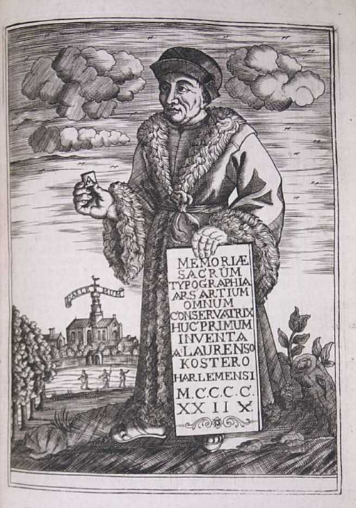 Portait of Coster holding a letter A and a printed sheet, with a church in the background.