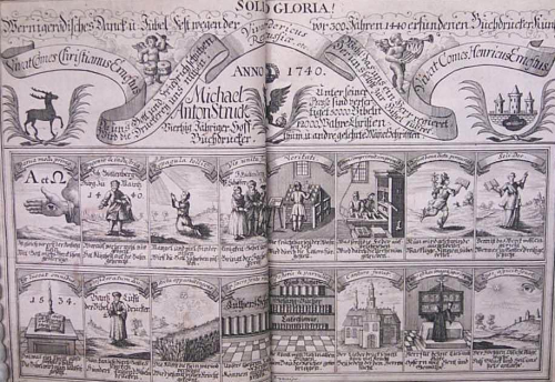 Engraved title page with vignettes showing printers, presses, books and church scenes