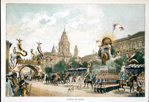 Frederick the Great and his soldiers as shown in the 1900 centenary procession