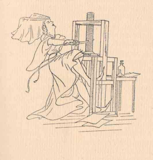 Cartoon of a mediaeval woman working a printing press
