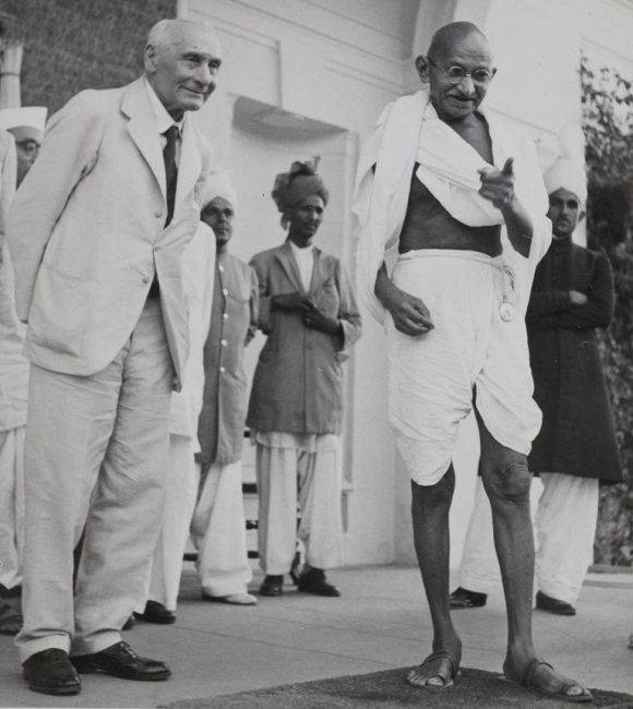 Photograph of Mahatma Gandhi and Lord Pethick-Lawrence, the Secretary of State for India