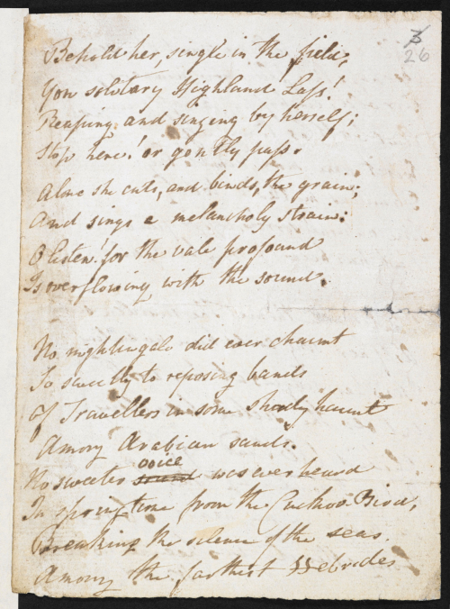 Autograph copy of 'The Solitary Reaper,' by William Wordsworth. British Library, Add MS 60580. © Dove Cottage - Wordsworth Trust. Open in new tab to continue listening whilst browsing.