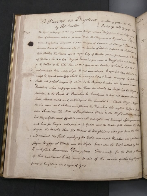 "Manuscript draft of 'A Discorse on Brystowe"" – one of Chatterton's forged Rowley documents, chronicling the history of Bristol"