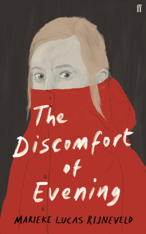 Front cover of The Discomfort of Evening with an illustration of a person with a jacket pulled up over their nose and mouth