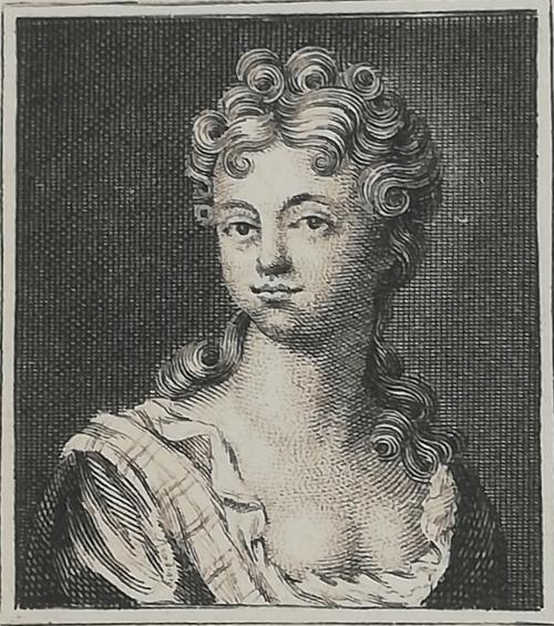 An engraving of a woman's portrait representing Elizabeth Elstob