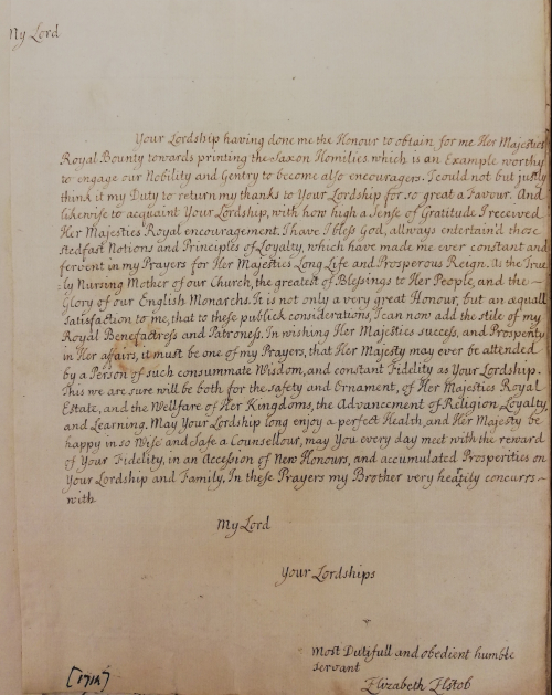 A letter written in brown ink in the hand of Elizabeth Elstob