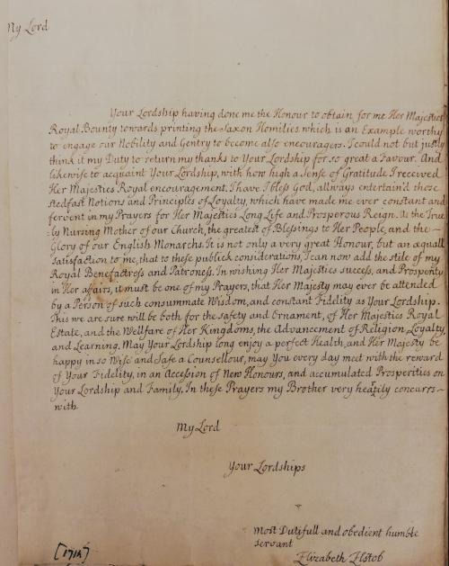 A letter written in brown ink in the hand of Elizabeth Elstob