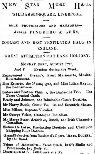 Bank Holiday Monday programme for the New Star Music Hall in Liverpool August 1882