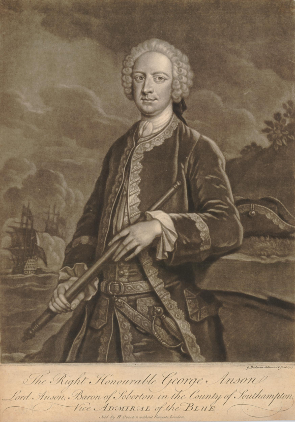 Portrait of George Anson, three-quarters length standing to left, looking towards the viewer, holding a telescope in both hands, his left elbow resting on a grassy ledge beside his hat, wearing a suit with sword and wig.