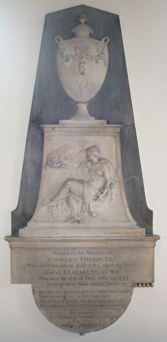 The memorial erected by Captain Robert Preston to Charles Foulis in St.Mary's church, Woodford, Essex.
