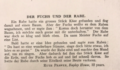 Photocopy of Ruth Prawer Jhabvala's first publication in German, 'Der Fuchs Und Der Rabe'
