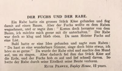 Photocopy of Ruth Prawer Jhabvala's first publication in German, 'Der Fuchs Und Der Rabe'