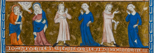 A detail from the Holy Kinship miniature in the Queen Mary Psalter, showing the daughters of St Anne and their husbands.