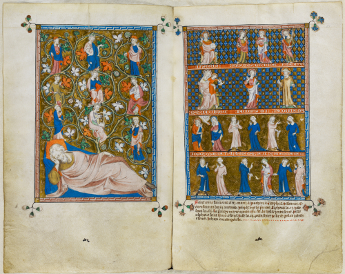 An opening from the Queen Mary Psalter, featuring illustrations of the Tree of Jesse and the Holy Kinship.