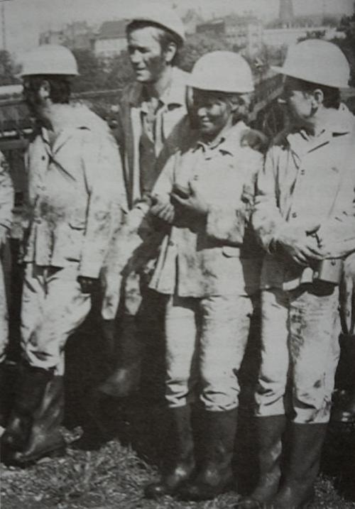 Photograph of Jadwiga Piątkowska during her visit to a coal mine in Silesia