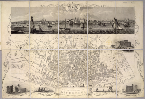 Plan of Liverpool 1845 with illustrations of ships and buildings