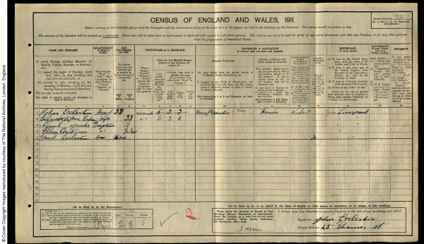 Census entry for the Eccleston family 1911