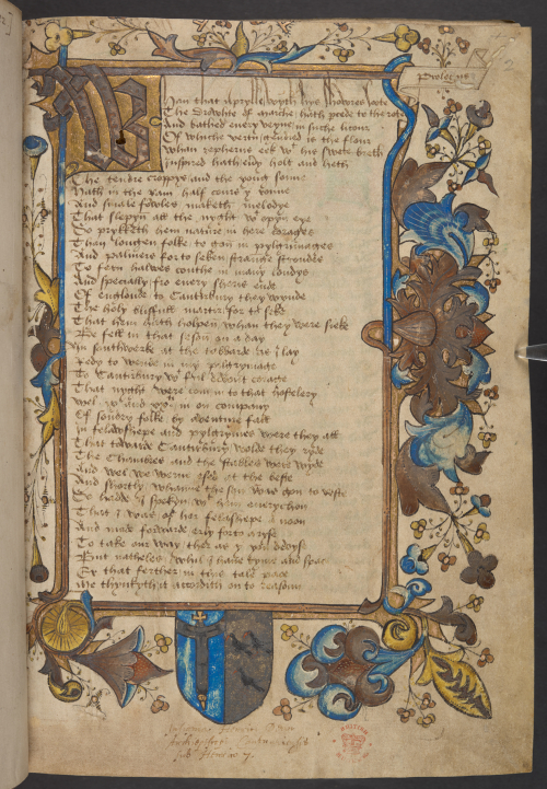 The opening page from a 15th-century manuscript of Chaucer's Canterbury Tales, featuring a decorated border and initial with a coat of arms in the lower margin.