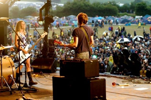 The Subways performing on the Other Stage at the Glastonbury Festival 2004