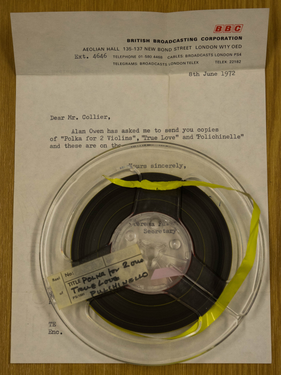 spool of tape and letter from BBC