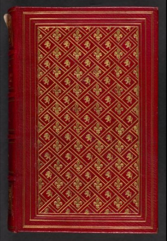 Cover  of friendship album or 'stammbuch' of George Andrew- red leather with gold fleur de lys decorations