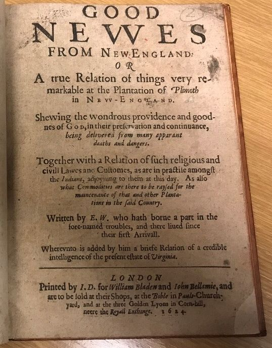 Title page of Edward Winslow's Good Newes from New England