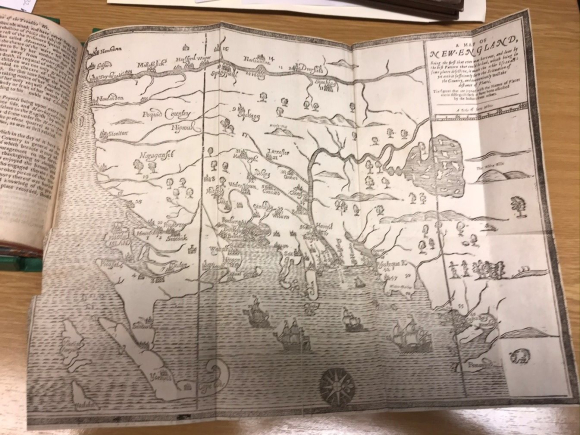 First printed map produced in North America  cut by John Foster and orientated to the west instead of the north