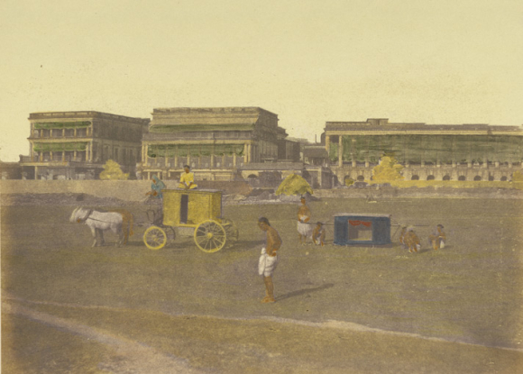 The Court House, Calcutta - a hand-coloured print by Frederick Fiebig in 1851, showing people in the foreground, with a cart and a palanquin.