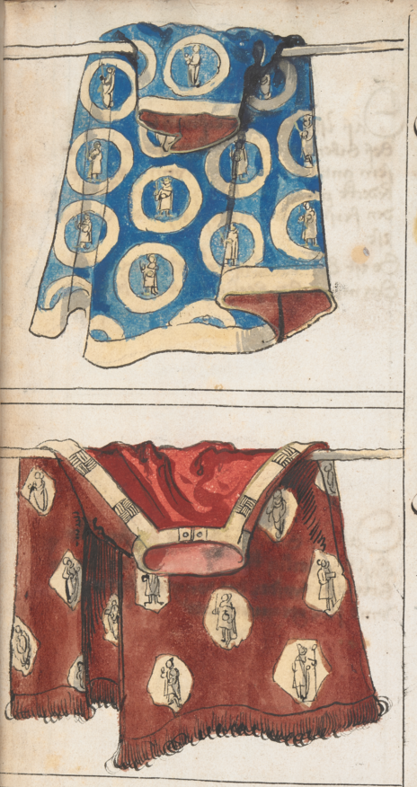 Cunigunde's mantles, one in blue and another in red, both featuring gold embroidery