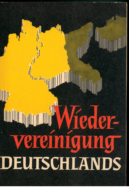 Cover of 'Wiedervereinigung Deutschlands' with a stylised map of the divided Germany including former German territories in Poland