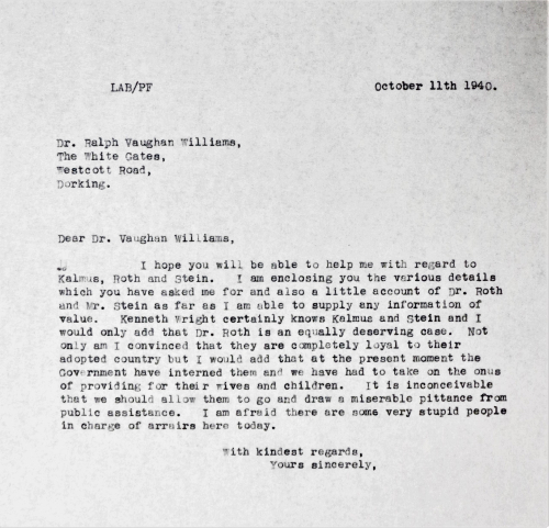 Copy letter from Leslie Boosey to Ralph Vaughan Williams, 11 October 1940