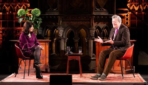 Stephen Fry talking to Shappi Khorsandi