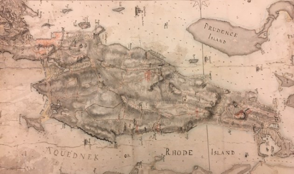 Map of Rhode Island in 1776 marked with the positions of British Regiments