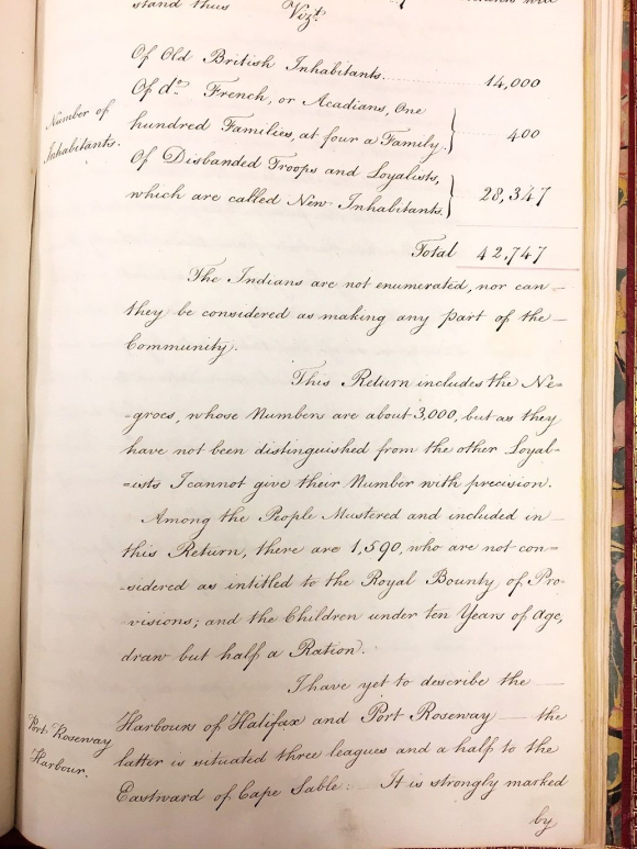 Page from manuscript report showing increase in population in Nova Scotia as 'New Inhabitants' arrive