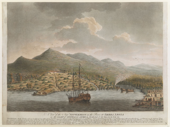 A view from the sea of the New Settlement in Sierra Leone 1790 with a sailing ship in the foreground