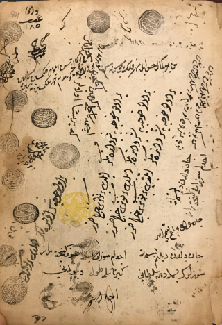 Manuscript page with numerous seals and couplets and inscriptions written in Arabic script in all directions