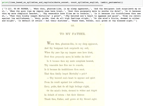 An image showing the poem 'To My Father', both written as a string of lines, and in its original form