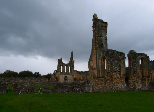 A photograph of the ruins of Byland Abbey
