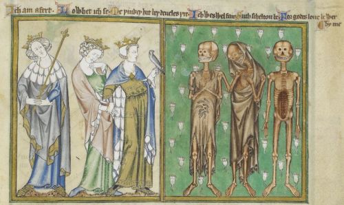 Medieval miniature of three living kings confronted by three dead kings