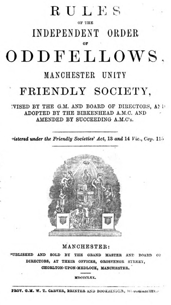 Title page of the Rules of the Oddfellows
