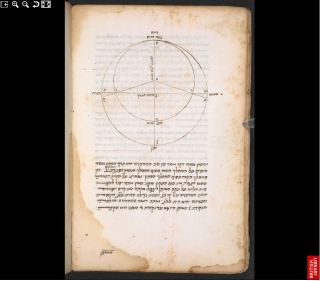 A manuscript page written in Hebrew including a geometric diagram of circles.