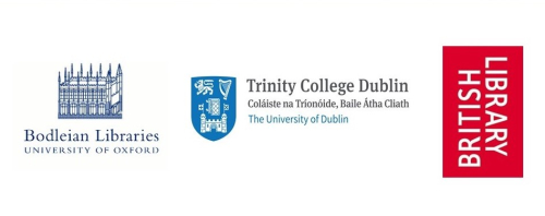 The 3 Legal Deposit Library logos who were involved in the collaboration - Bodleian Libraries, Trinitiy College Dublin and the British Library