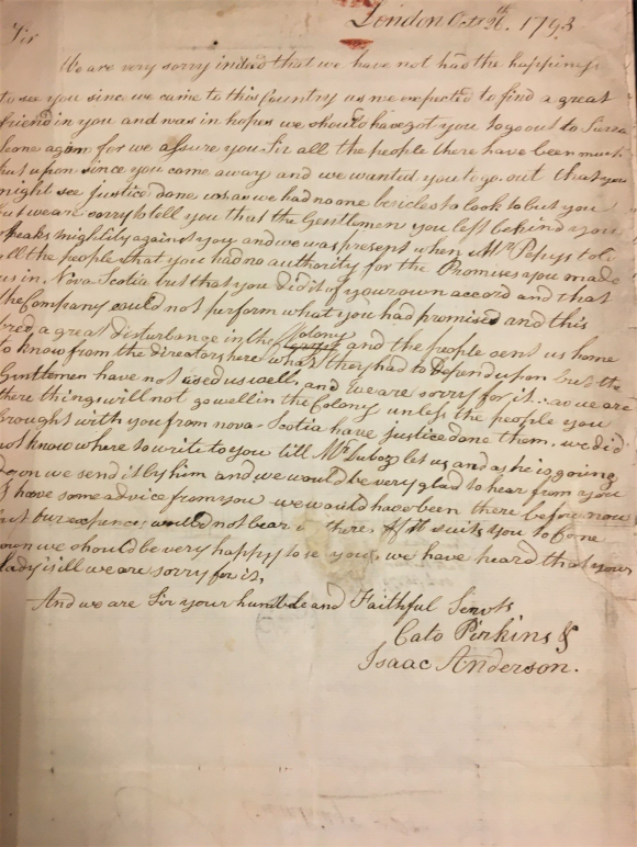 Letter to John Clarkson from Cato Perkins and Isaac Anderson  26 October 1793